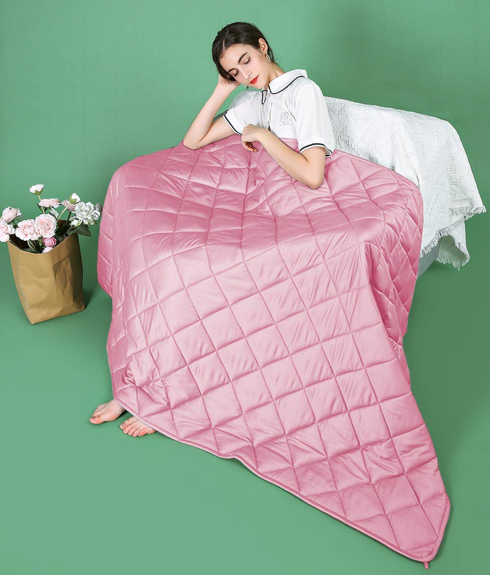 ZZZhen Weighted Blanket (Cool Bamboo - Pink, 48''72'' 15LBs) by ZZZhen