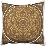 Throw Pillow Cover Square 18x18 Inches Yellow Abstract Golden Design Arabesque 3D Mandala Arab Arabian Arabic Asian Circle Ethnic Polyester Decor Hidden Zipper Print On Pillowcases