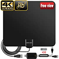 TV Aerial, 2019 Newest Indoor TV Aerial for Digital Freeview 4K 1080P HD VHF UHF for Local Channels 80+ Miles Range with Signal Amplifier Support All TV's - 16.5 ft Coax Cable