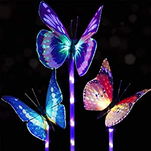 (Pack of 3) Garden Solar Lights Outdoor, Solar Stake Light Multi-Color Changing LED Garden Lights, Fiber Optic Butterfly Decorative Lights, with a Purple LED Light Stake