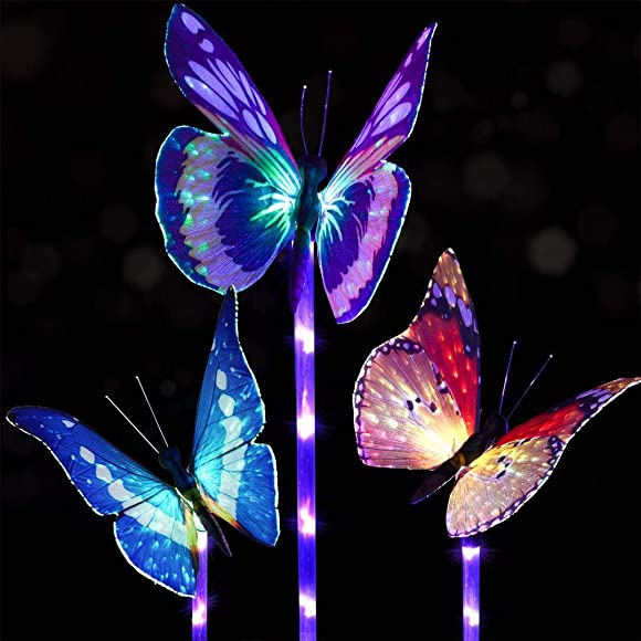 Pack of 3 Garden Solar Lights Outdoor, Solar Stake Light Multi-Color Changing LED Garden Lights, Fiber Optic Butterfly Decorative Lights, with a Purple LED Light Stake