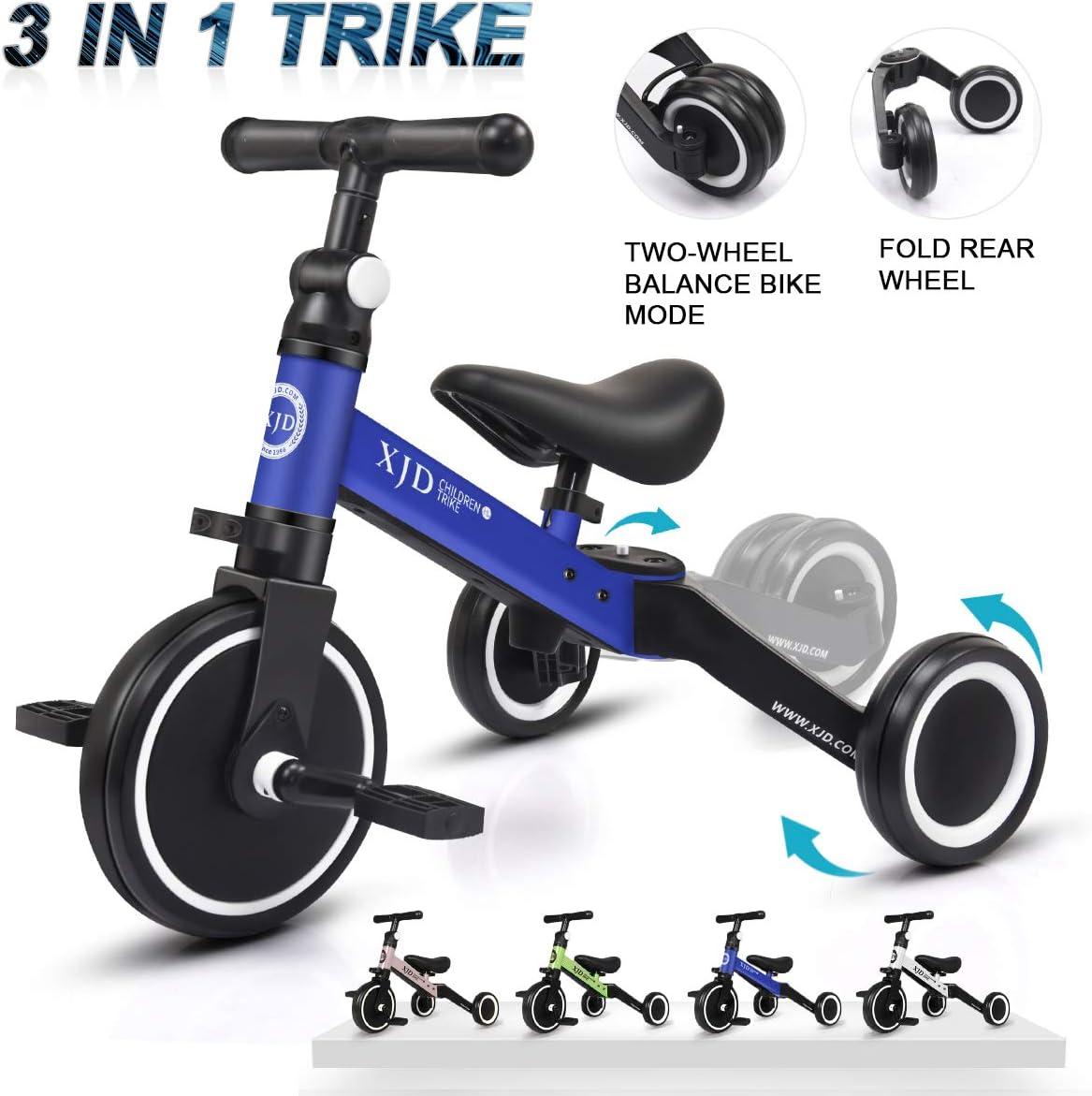 XJD 3 en 1 Triciclo para Niños con Pedales Ligero y Plegable Triciclo Bicicleta para Niño y Niña de 2 a 4 años con CE Certificación con Bolsa de Transporte (Azul Oscuro)