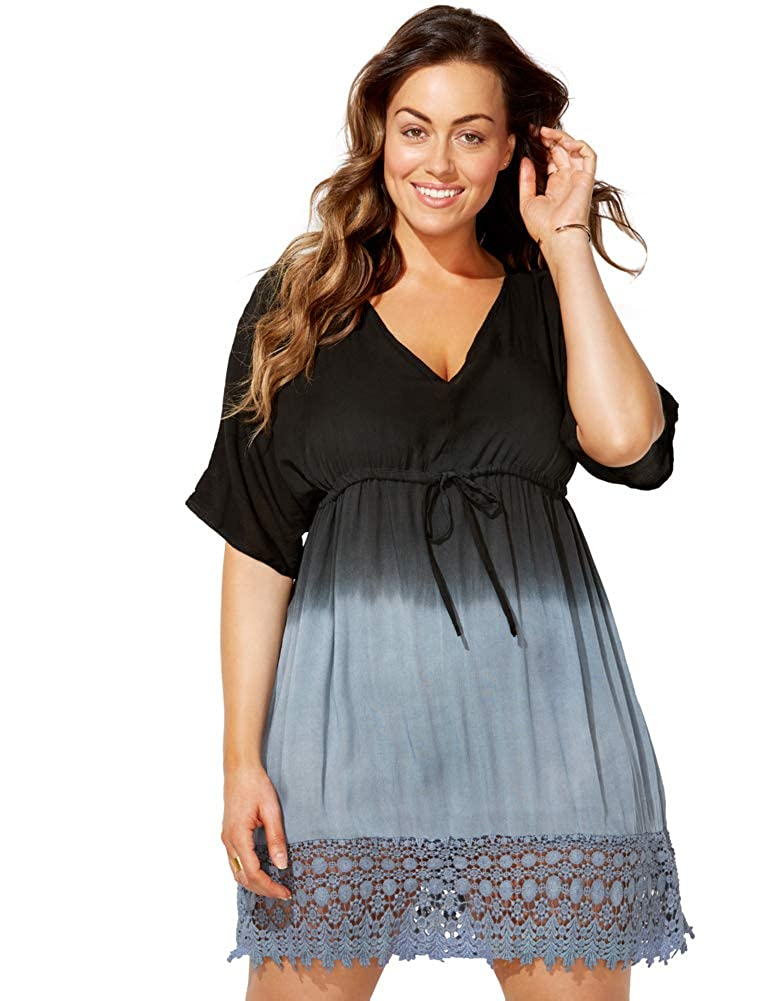 Swimsuits for All Womens Plus Size Ombre Tunic Swimsuit Cover Up