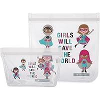 Full Circle ZipTuck Kids Reusable Lunch Bags Set, Girl Heroes