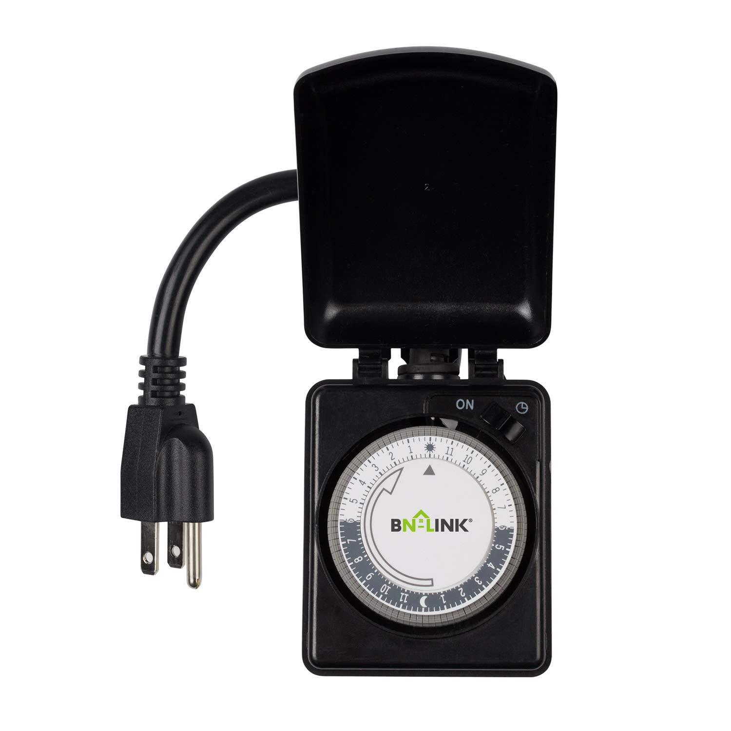 BN-LINK Compact Outdoor Mechanical Timer, 24 Hour Programmable Dual Outlet Timer - Plug in, Waterproof, Heavy Duty, Accurate For Lamps Outdoor Christmas Lights 1875W 1/2HP ETL Listed by BN-LINK