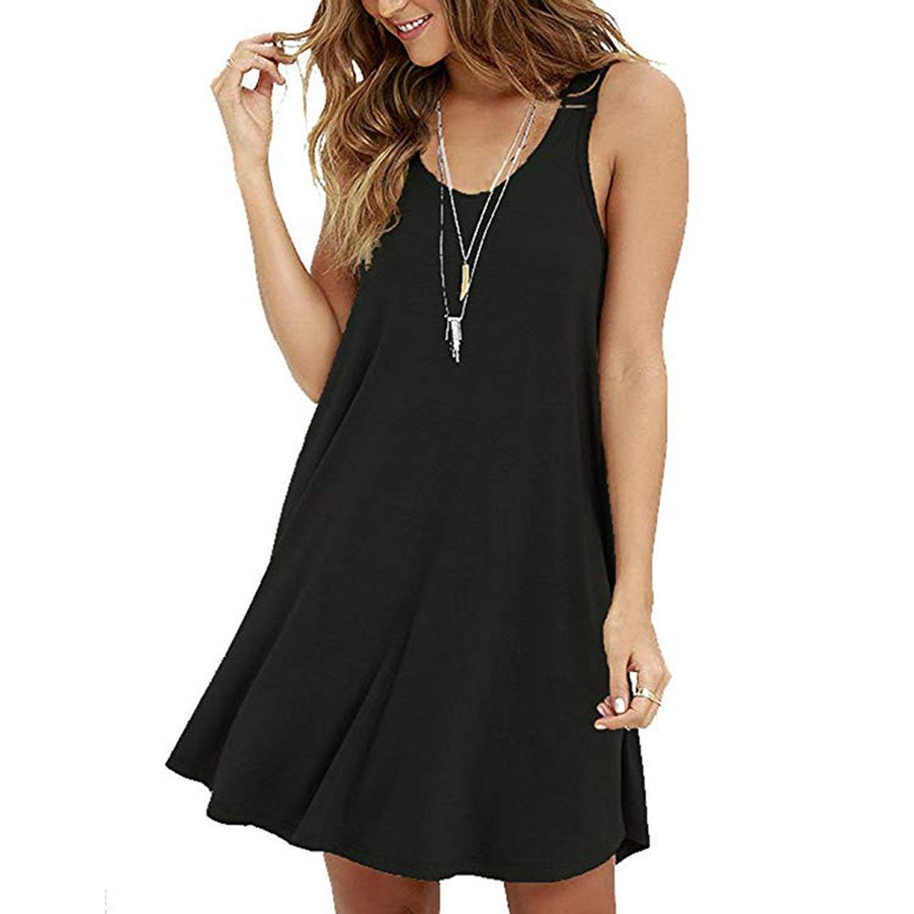 Women's Casual Solid Sleeveless Strapless Mini Dress Summer Loose O-Neck A-Line Shirt Camis Dresses Beach Sundress Black