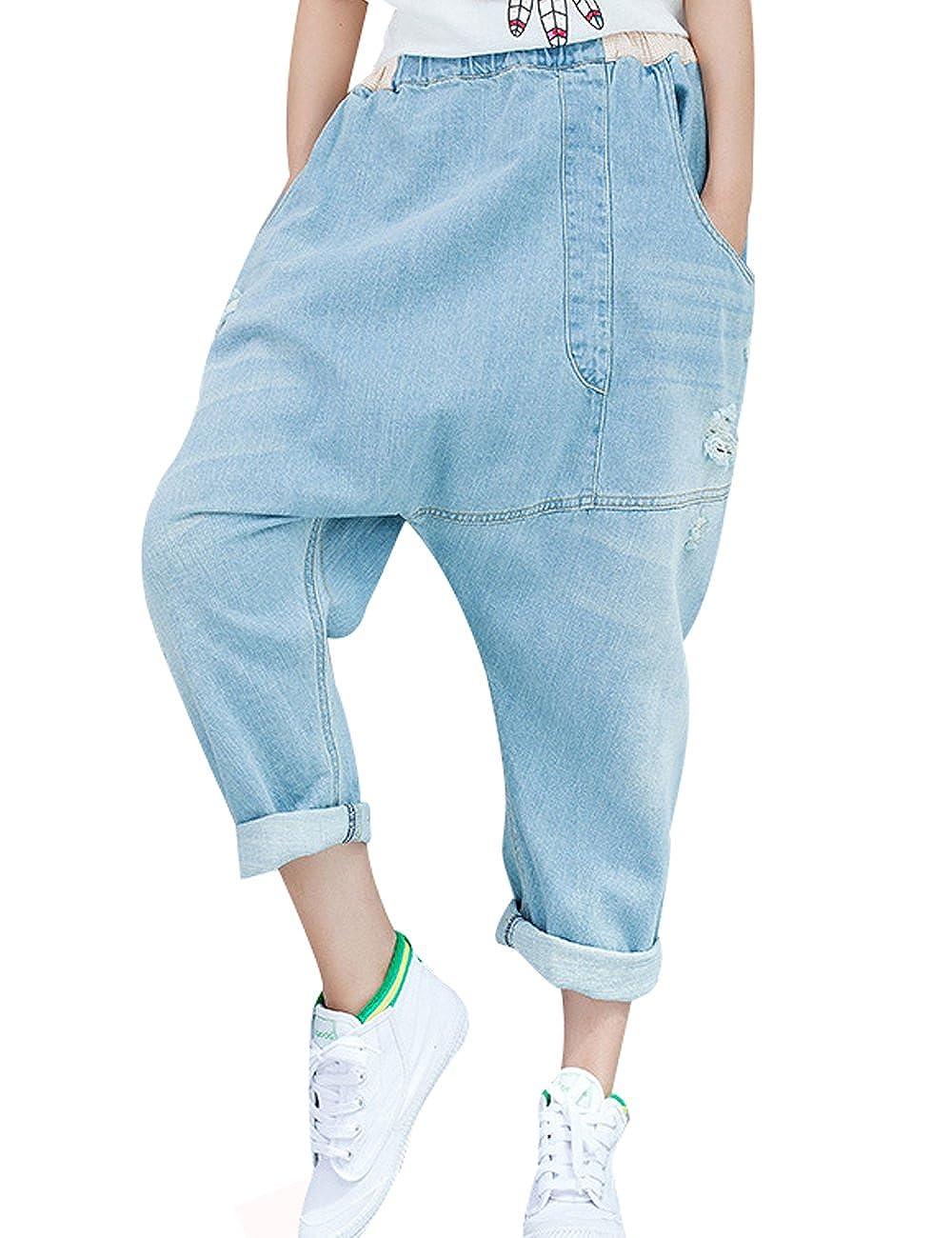 Youlee Femmes Patchwork Sarouels Jeans Détruit Jeans à Jambes Larges Youlee-0233-1