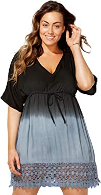 8906b3223a Swimsuits for All Women s Plus Size Ombre Tunic Swimsuit Cover Up