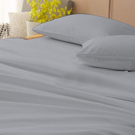 Juego de sábanas de algodón egipcio de 4 piezas con bolsillo de 7 a 9 pulgadas de profundidad por DNG Creations patrón sólido de 800 hilos, algodón, Plateado, King- 7 to 9 inch: Amazon.es: Hogar