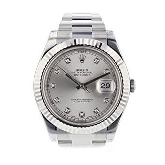 aa4b30b3c94 Amazon.com  Rolex Datejust II 41mm Steel Silver Diamond Dial Men s ...