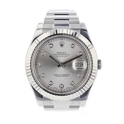 Rolex Datejust II 41 mm acero plata diamante Dial hombres del reloj 116334: Amazon.es: Relojes