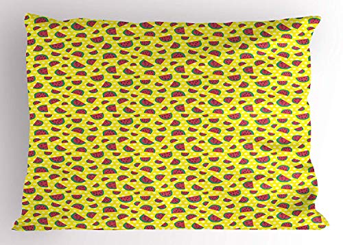 (TYANG Watermelon Pillow Sham, Childish Sweet Fresh Summer Fruit with Hand Drawn Style Slices, Decorative Standard Queen Size Printed Pillowcase, 30 X 20 inches, Yellow Jade Green Dark Coral)