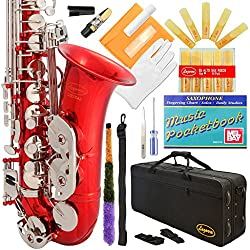 Lazarro 370-RD E-Flat Eb Alto Saxophone Red-Silver Keys with Case, 11 Reeds, Care Kit and Many Extras