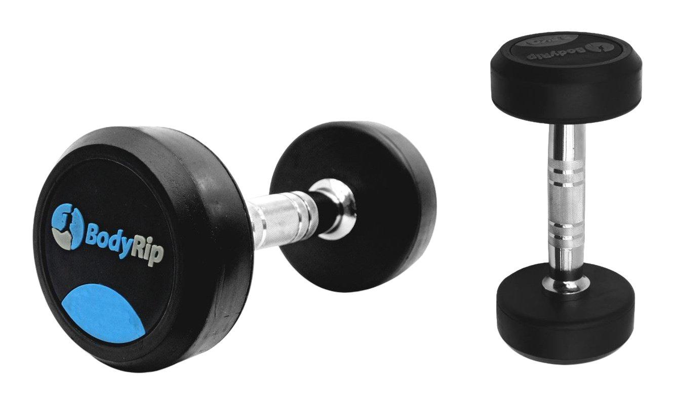 BodyRip - Mancuernas (Revestimiento de Goma Fijo Peso, Unisex, Fixed Weight Rubber Coated, Negro: Amazon.es: Deportes y aire libre
