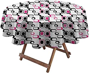 """Outdoor Tablecloth Geometric for Picnic Party Patio Table Camping Trippy Shapes Vintage Sixties Inspired Design Elements in Vivid Colors 50"""" Diameter Magenta Black White"""