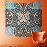 Printsonne Tapestry Wall Tapestry Collection Arabian Style Geometric Pattern Islamic Persian Art Elements and Baroque Touch Art Wall Hanging Yoga/Picnic/Camping Mat