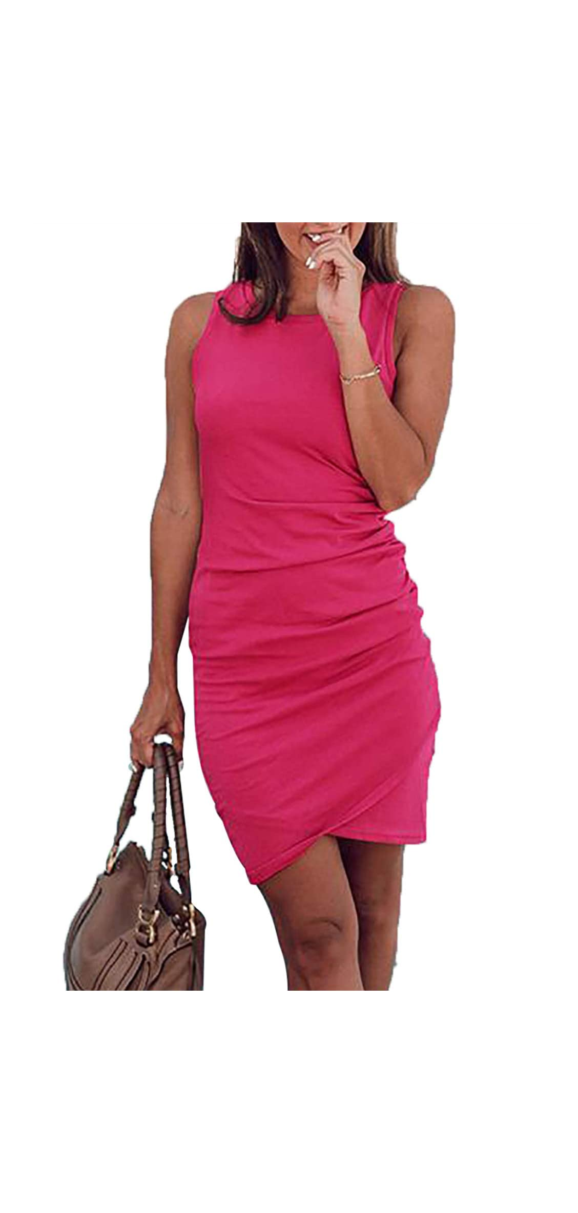 Womens  Casual Crew Neck Ruched Stretchy Bodycon T