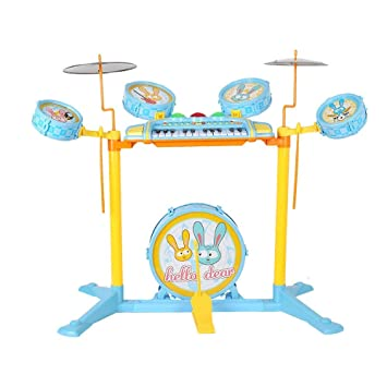 Livebest Kid's Musical Instrument Jazz Drum Play Set with 24 Keys Keyboard