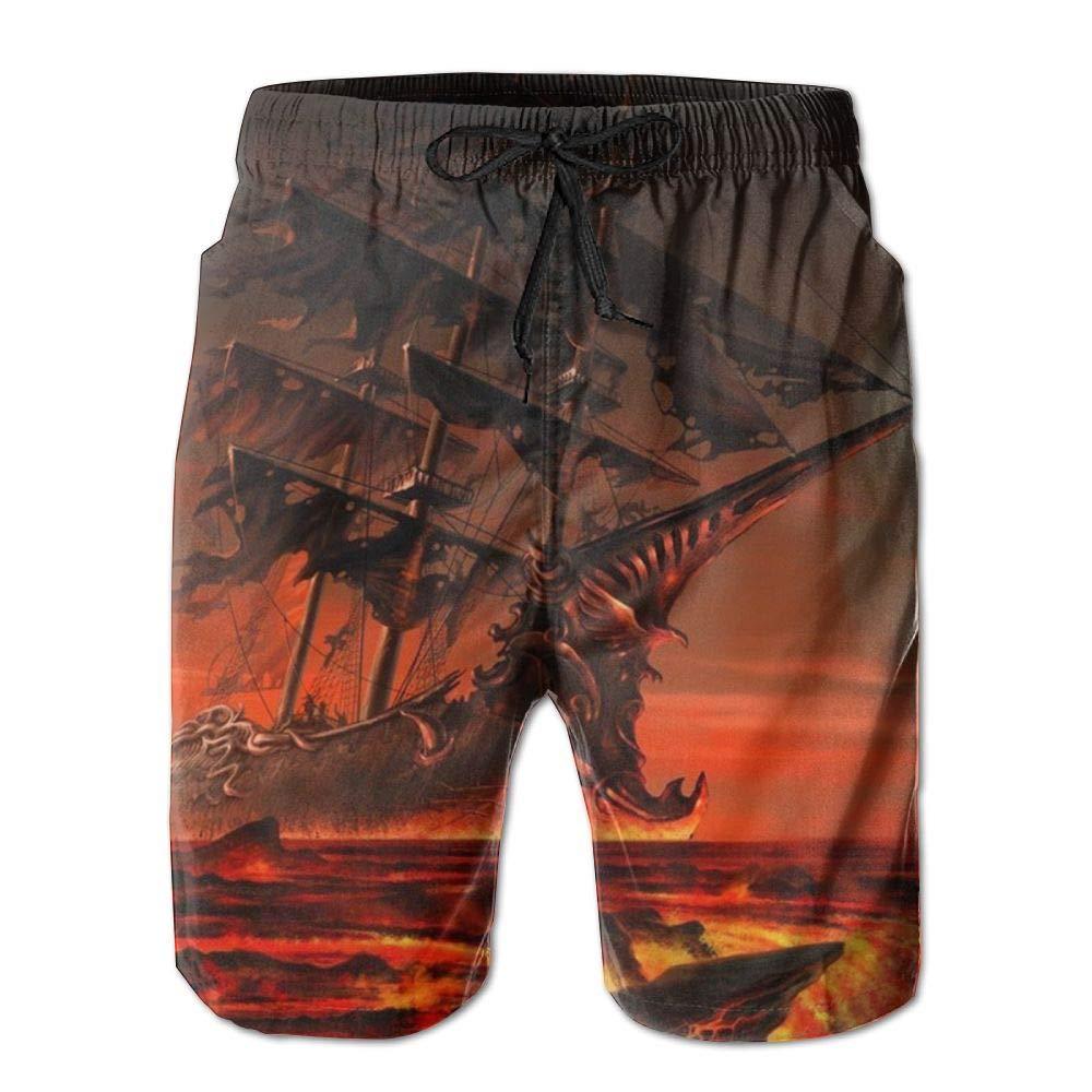 LXP FZD Mens Beach Board Shorts Hell Pirate Ship Workout Swim Trunks Fashion Surf Shorts Sportswear