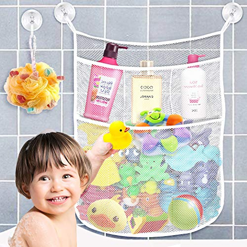 - Yihoon Bath Toy Organizer Shower Caddy - for Bathroom Baby Toy Storage Quick Dry Bathtub Mesh Net + 4 Soap Pockets with Suction Hooks