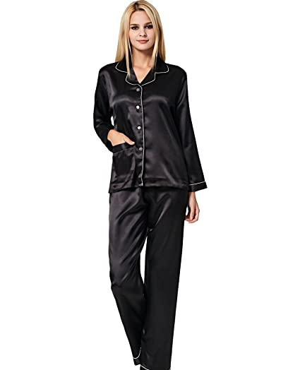 858dd003d6 VlSl Womens Silk Satin Pajamas Set Sleepwear Loungewear Two-Piece Long  Sleeve Pajama Set (Small