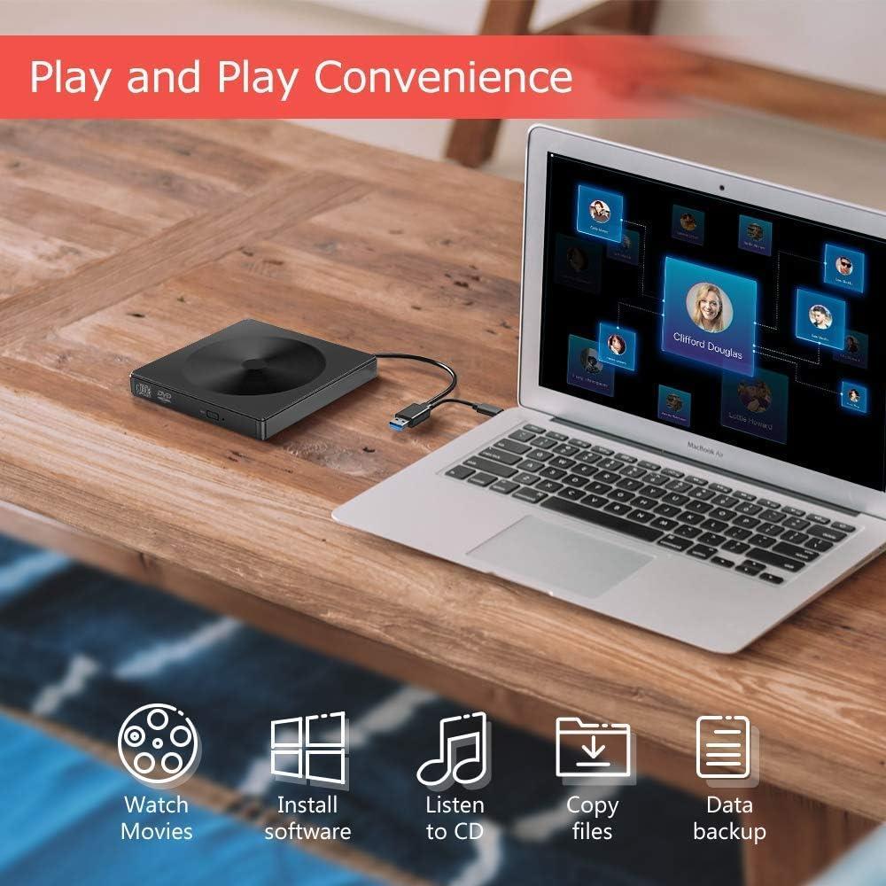 Windows 10 7 8 XP // 2003 // Vista Mac OS PC Linux Black Externe CD /& DVD-Laufwerk,USB 3.0 Typ C CD//DVD-RW-Brenner Player Ultraflacher Tragbarer,Externe Optische DVD-Laufwerke f/ür Laptop