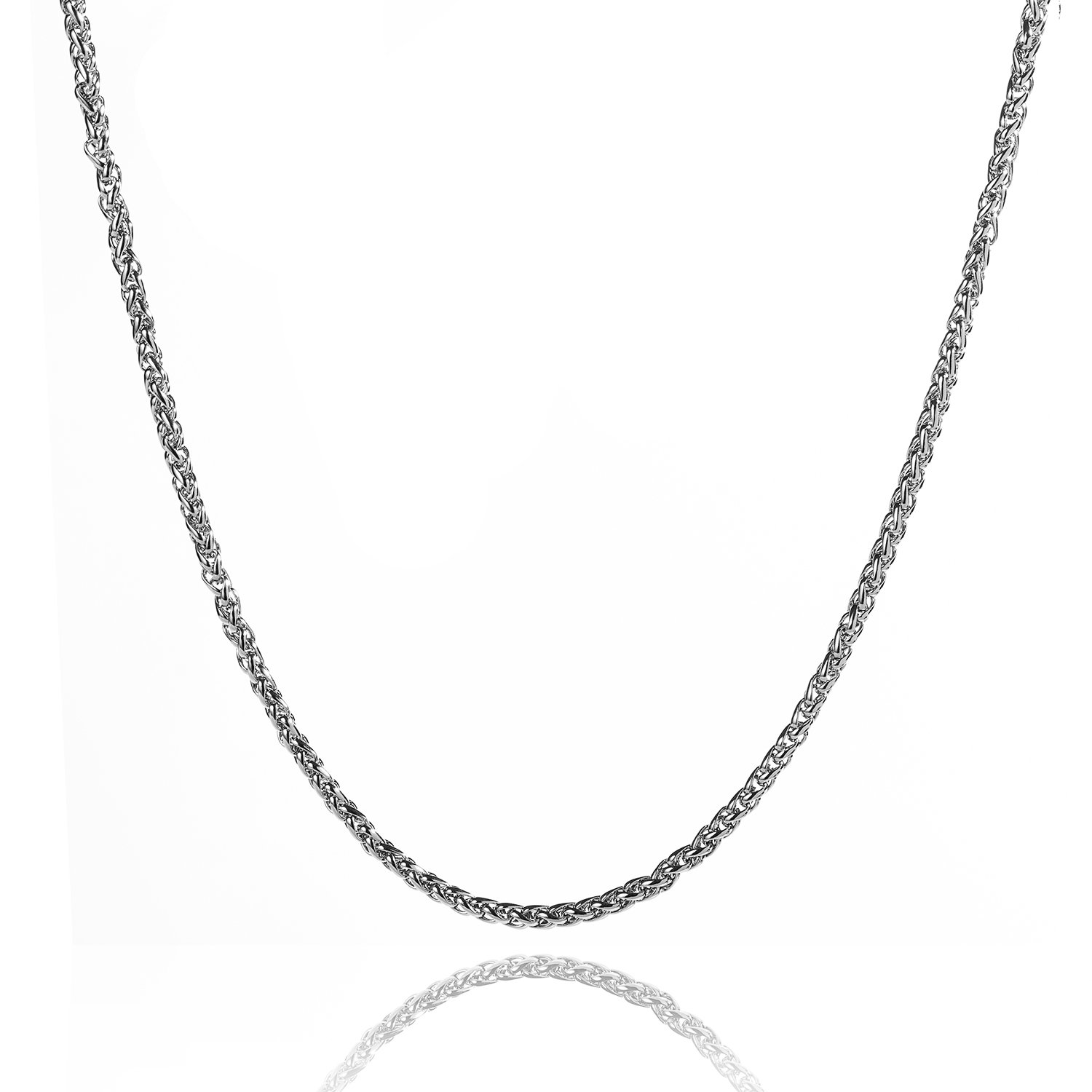 Youlixuess Style 4mm Titanium Stainless Steel Womens Mens Silver Wheat Chain Necklace 16-30