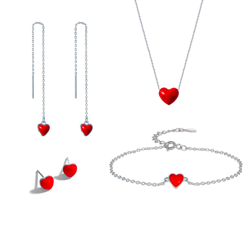 Ensemble de Bijoux,Wisolt Femmes Forme de coeur rouge Pendentif Collier Boucles doreilles Bracelets lot de 4