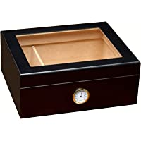 Prestige Import Group - The Chalet Glass Top Cigar Humidor - Capacity: 20-50 - Color: Black
