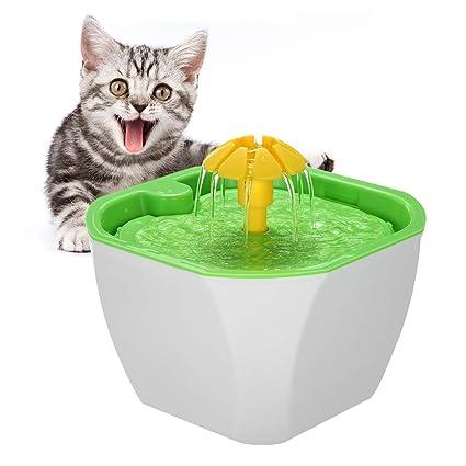 Decdeal Fuente de Agua para Mascotas Bebedero Automático de Flores Circular con Bomba de Filtro para
