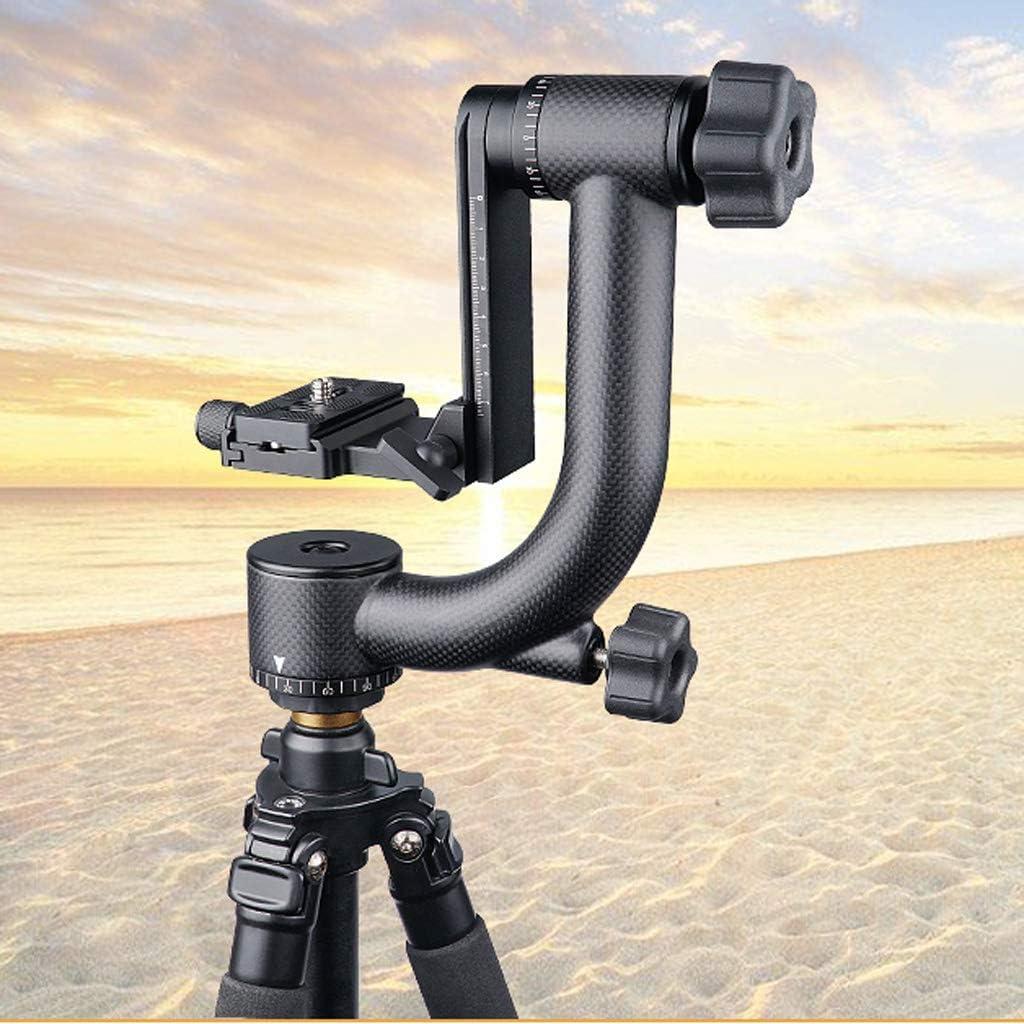 gazechimp Carbon Fiber Panoramic Gimbal Tripod Head for DSLR Cameras Telephoto Lens with 1//4inch Quick Release Plate QR /& Bubble Level Black