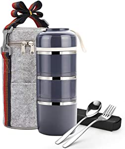 Stackable Bento Lunch Box, ArderLive Compartment Thermal Stainless Steel Insulated Lunch Container with Lunch Bag & Portable utensil, Leakproof Container for Office,Kids.(3Layer, Gray)
