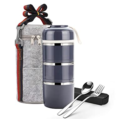 Bento Lunch Box, ArderLive Portable Stainless Steel Insulated Lunch Box with Lunch Bag & Portable utensil, BPA Free Leakproof Food Storage Container.(3Layer, Gray)