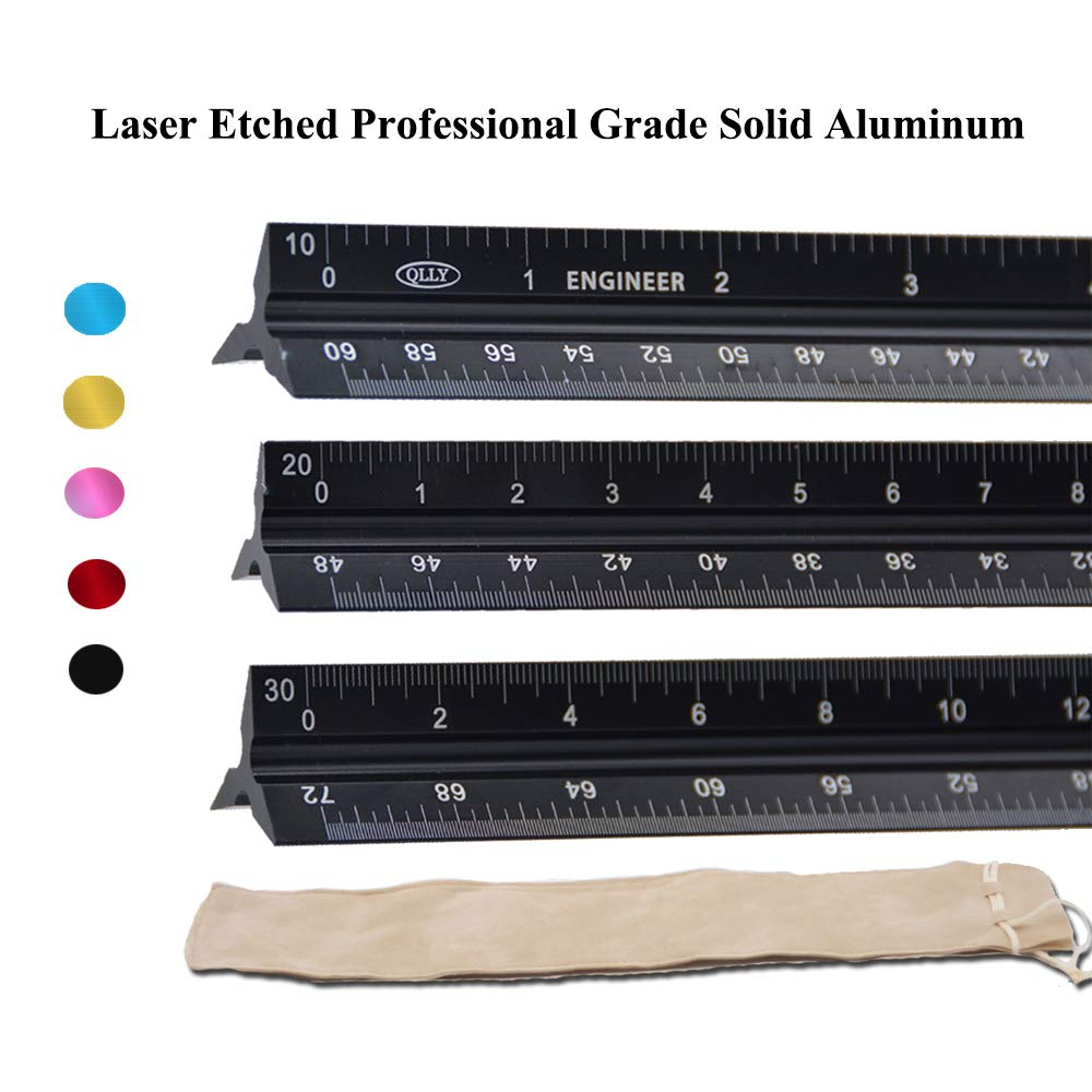 QLLY Laser Etched 12-inch Triangular Architect & Engineer Scale Ruler - Professional Grade Solid Aluminum - Ideal for Architects, Students, Draftsman, and Engineers (Engineer-Scale-Black) by QLLY (Image #1)