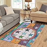InterestPrint Area Rug Colorful Stars and Stripes on Wood Panel Anti Skid Carpet 5'3 x 4', Vintage Grunge Modern Indoor Floor Rugs Mat Collection for Room Home Decor