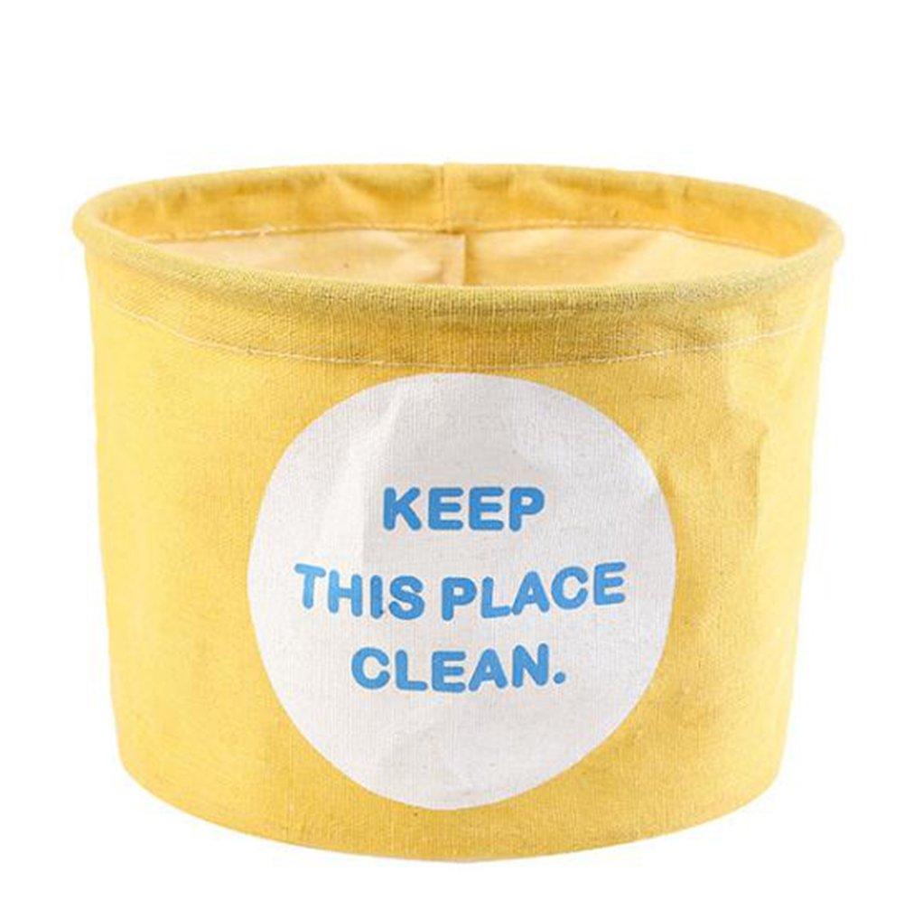 19x19x15CM amarillo /Caja de almacenaje milopon Caja multifunci/ón Lino Toalla Storage Box cesta creativa forma redonda Cocina Cuarto de ba/ño/