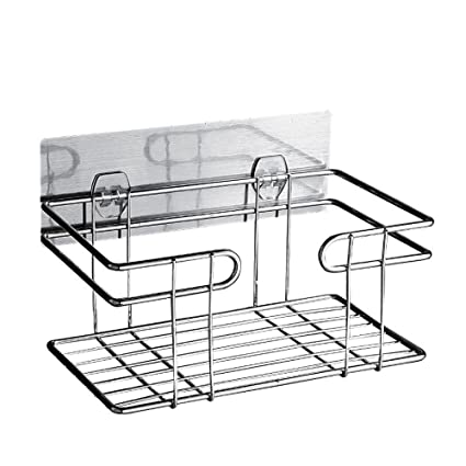 Shower Caddy Bathroom Storage Basket Wall Mounted Metal Suction ...