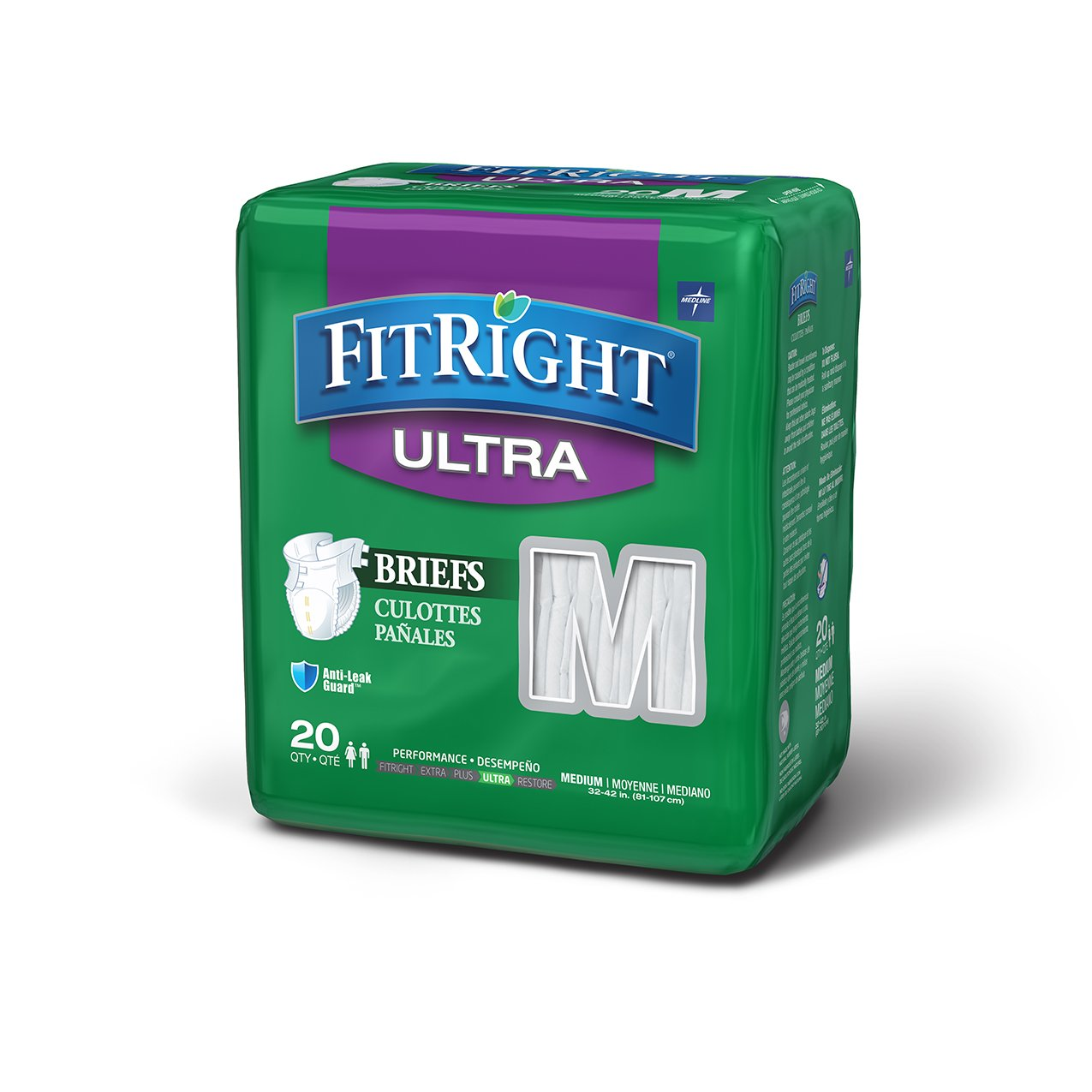 FitRight Ultra Adult Briefs with Tabs, Heavy Absorbency, Medium, 32''-42'', 4 packs of 20 (80 total)