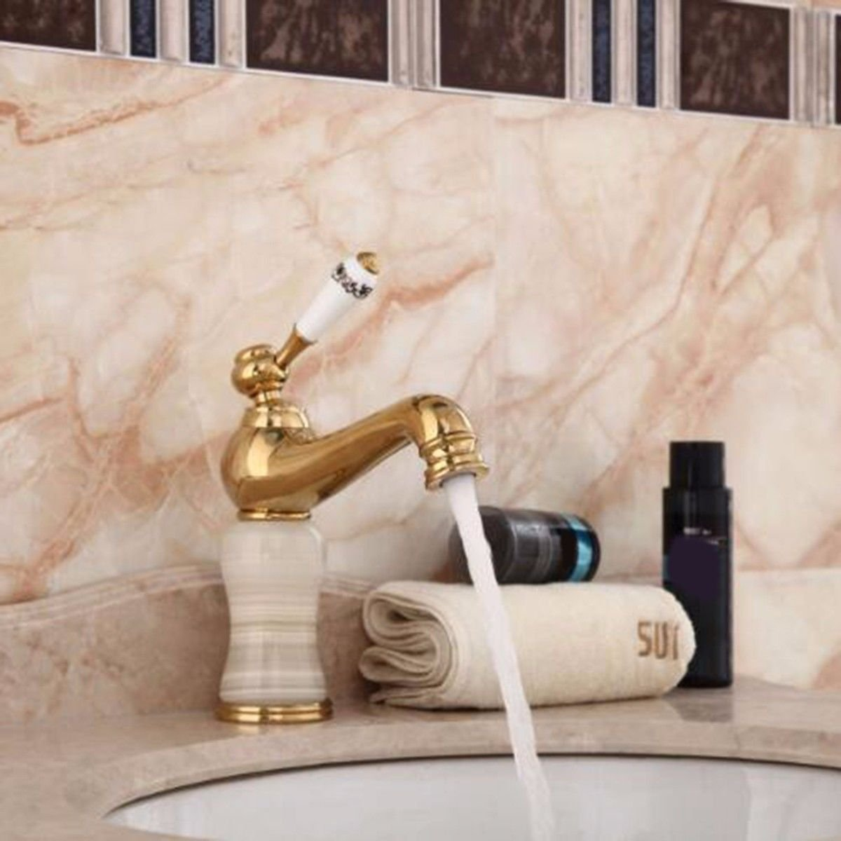 ETERNAL QUALITY Bathroom Sink Basin Tap Brass Mixer Tap Washroom Mixer Faucet The jewel of the whole copper golden taps basin cold water tap Faucet Kitchen Sink Taps