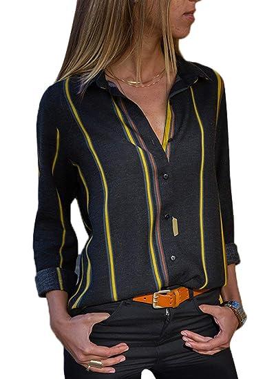 ShallGood Mujer Blusa Camisa Casual De Manga Larga Color Block Stripe Button Camisetas Tops Cuello En V OtoñO Primavera Moda Rayas Gasa Blusa con Botones: ...