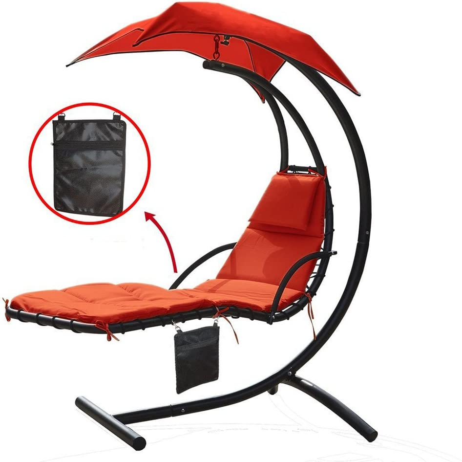 Amazon Com Zupapa 300lbs Weight Capacity Hanging Chaise Lounger Chair With Umbrella Garden Air Porch Arc Stand Floating Swing Hammock Chair With A Zippered Poly Bag Garden Outdoor