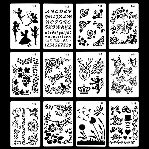 Honbay 12PCS Different Style Plastic Stencils Templates with Angel Letters Flowers Birds Butterfly for Bullet Journal Painting Drawing Craft School Project,9.7 x 6.3 Inch