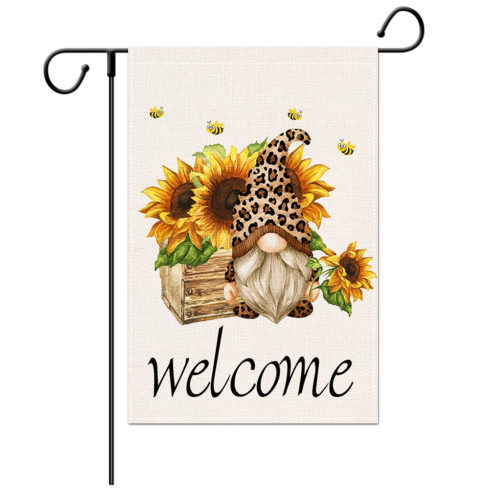 Summer Sun flower Garden Flag -12×18 Inch Gnome Double Sided Yard Decoration Flag, Welcome House Vertical Banners for Patio Lawn Outdoor Home Décor