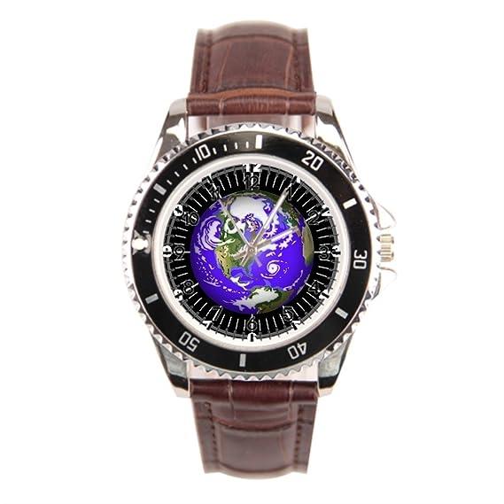 Mi gran Jefe Acero inoxidable reloj para hombres día de la tierra planeta tierra para hombre relojes negro acero inoxidable: Amazon.es: Relojes