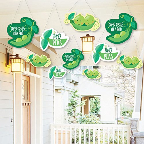 Hanging Double The Fun - Twins Two Peas in a Pod - Outdoor Hanging Decor - Baby Shower or First Birthday Party Decorations - 10 Pieces ()