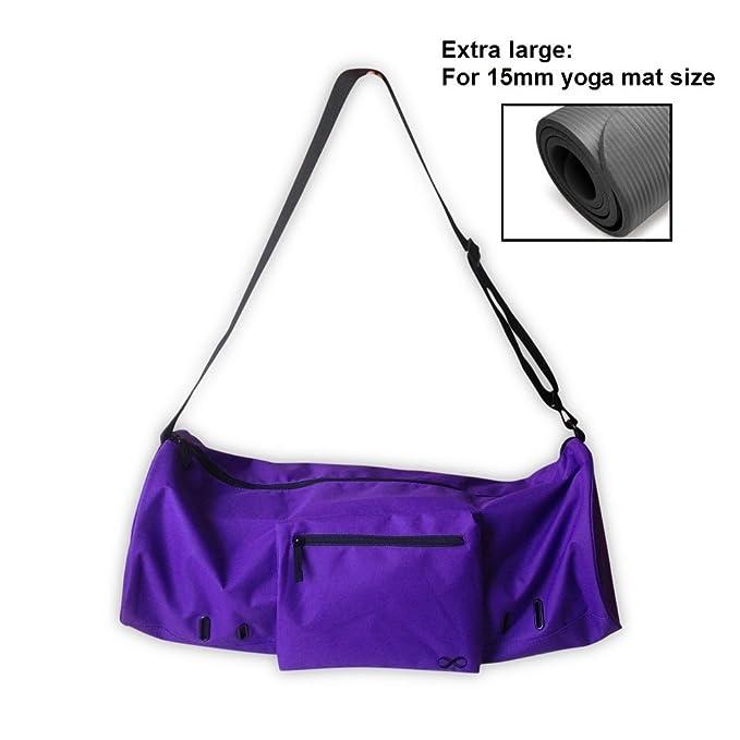 "YogaAddict Yoga Mat Bag (Extra Large) 'Compact' with Pocket, Fits All 15mm Yoga Mat and Jade/Manduka Mat Size, 29"" Long, Easy Access - Dark Purple"