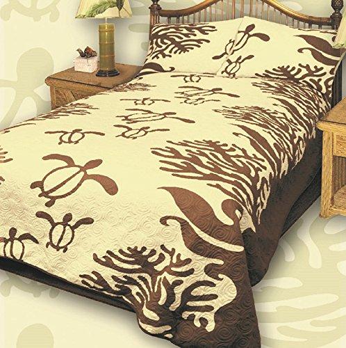 - Kauhale Living King Hawaiian Quilt bedding Comforter with two 20 x 30 pillow shams (Honu Sea Turtle) (Koa Brown)