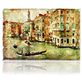 VVOVV Wall Decor - European Retro Nostalgic Building Painting Venice Canvas Wall Art Print Grand Canal Venice Poster Framed Italy Cityscape Artwork Cafe Restaurant Decor