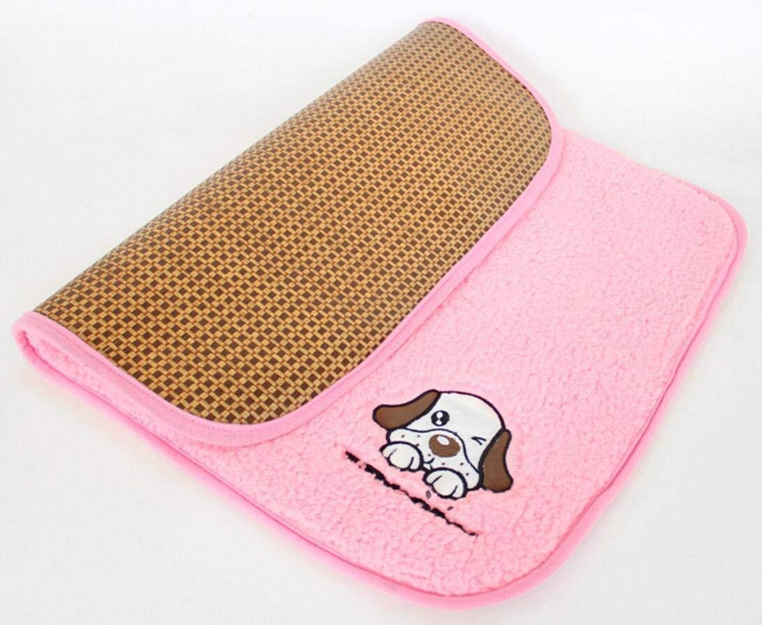 LLIND Pet Supplies 2 in 1 Pet Mat Dog Cats Puppy Cooling Pad Cushion Cold Bed Ma Pet Bed Blanket Dual Use Pet Cooling Sleeping Mat (Pink,M)