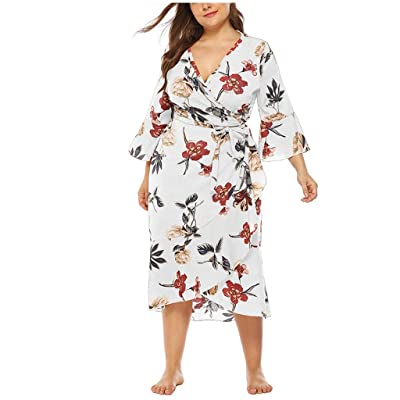 Sttech1 Plus Size Long Dress for Womens, Horn Sleeves V-Neck Dresses Casual Floral Print Cross Wrap Dress with Belt: Clothing [5Bkhe0703843]